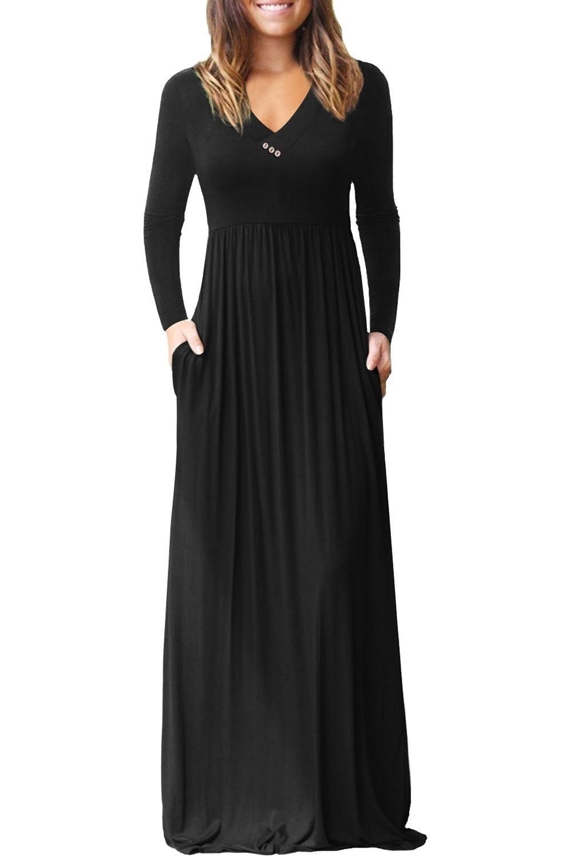 Black V Neck Pocket Style Long Jersey Dress Maxi Dresses Casual Maxi Dress With Sleeves Long Jersey Dress [ 1500 x 1001 Pixel ]