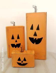 painted wooden pumpkins and frakenstein - Wooden Halloween Decorations