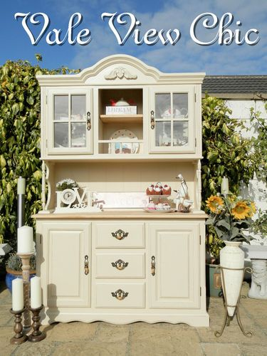 Beautiful Shabby Chic Huge Solid Oak Country Kitchen Dresser Made From TV Armoire