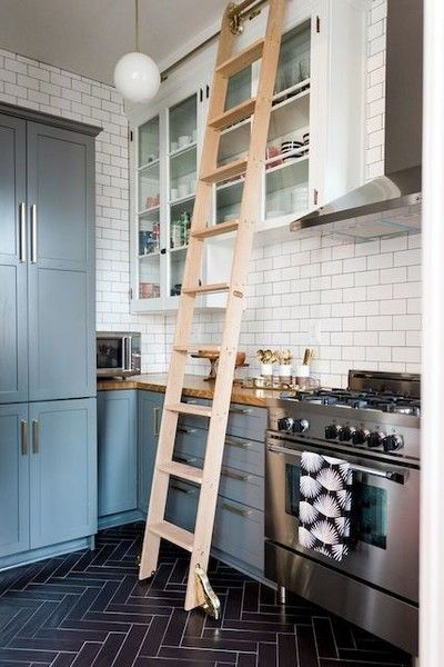 kitchen ladder top rated faucets decorating ideas backsplash home natural wood accents for a cozy rustic style photos