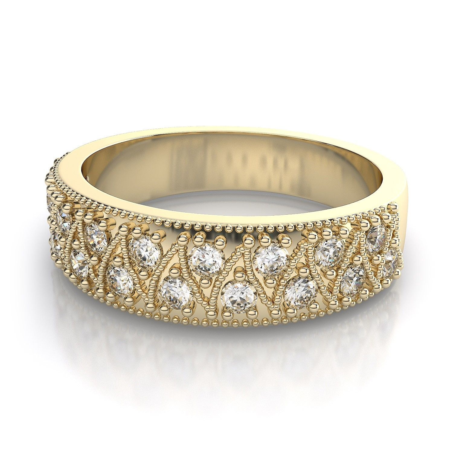 Lace Round Cut Diamond Wedding Ring in 18k Yellow Gold (.34ctw) SI ...