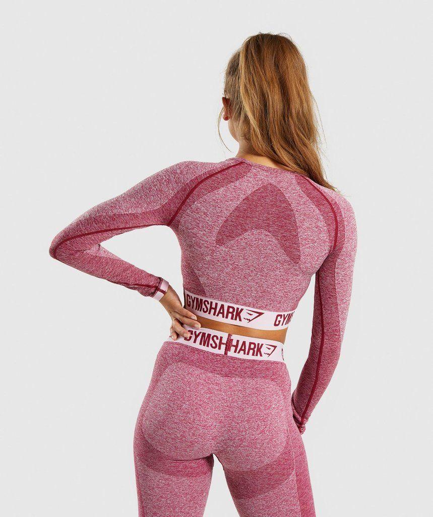 7e4fd5ba72ced Gymshark Flex Long Sleeve Crop Top - Beet Marl Chalk Pink 2