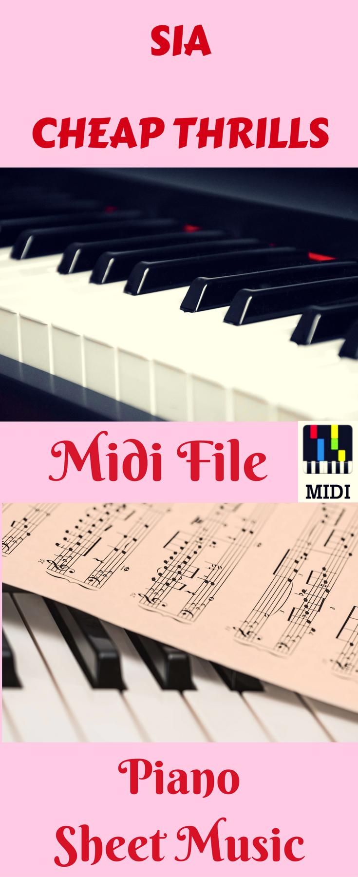 sia cheap thrills midi in 2019 piano midi files sheet music piano music piano sheet music. Black Bedroom Furniture Sets. Home Design Ideas