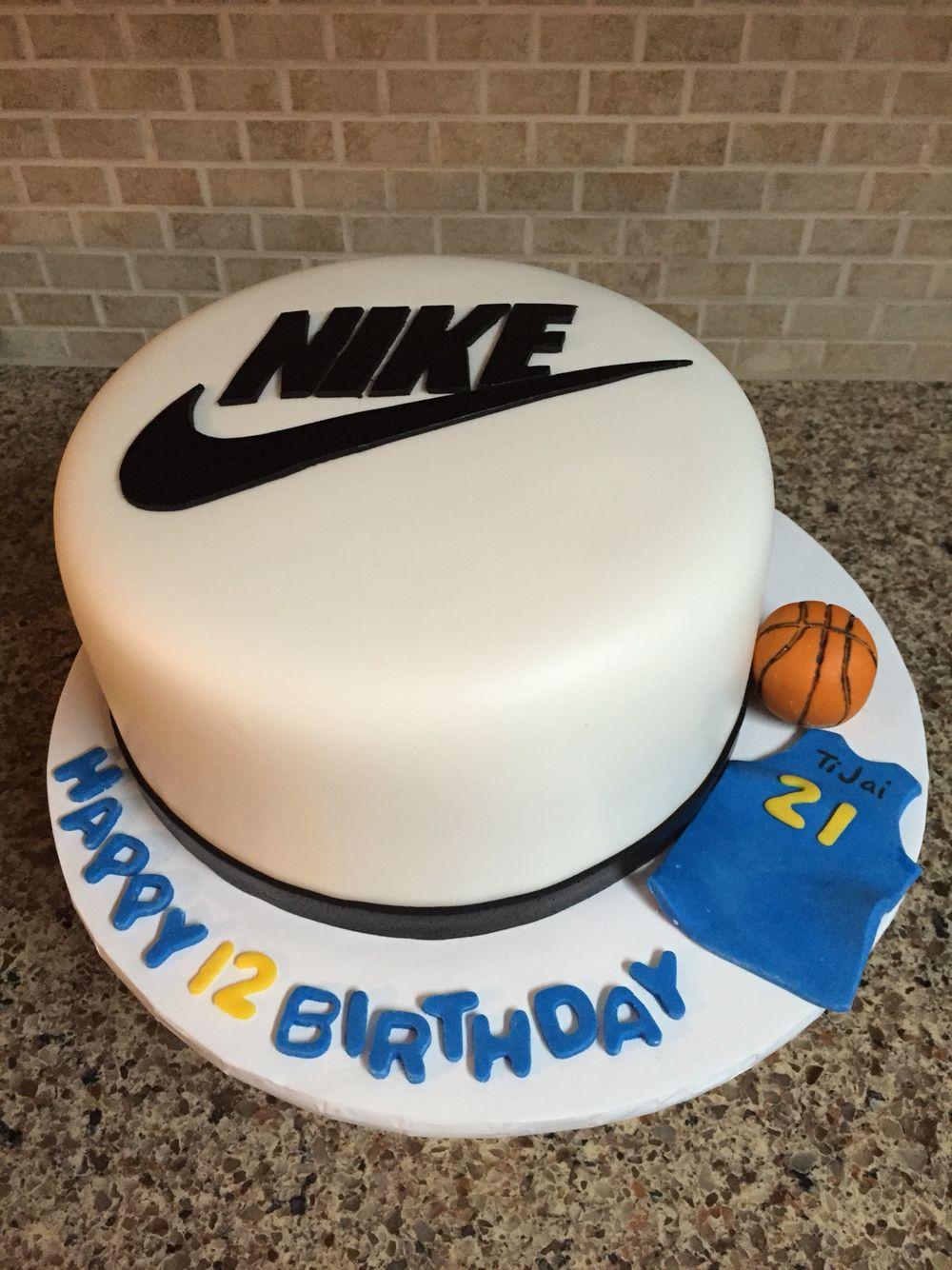 Nike Basketball Birthday Cake - 8 inch round fondant covered Nike birthday  cake with fondant and
