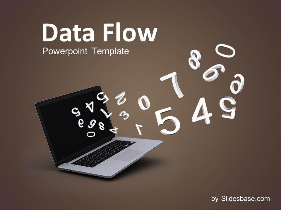 Data flow 3d numbers analytical math science laptop calculcate data flow powerpoint template with white numbers flying out of a laptop on brown background good template for presentations related with math accounting toneelgroepblik Image collections