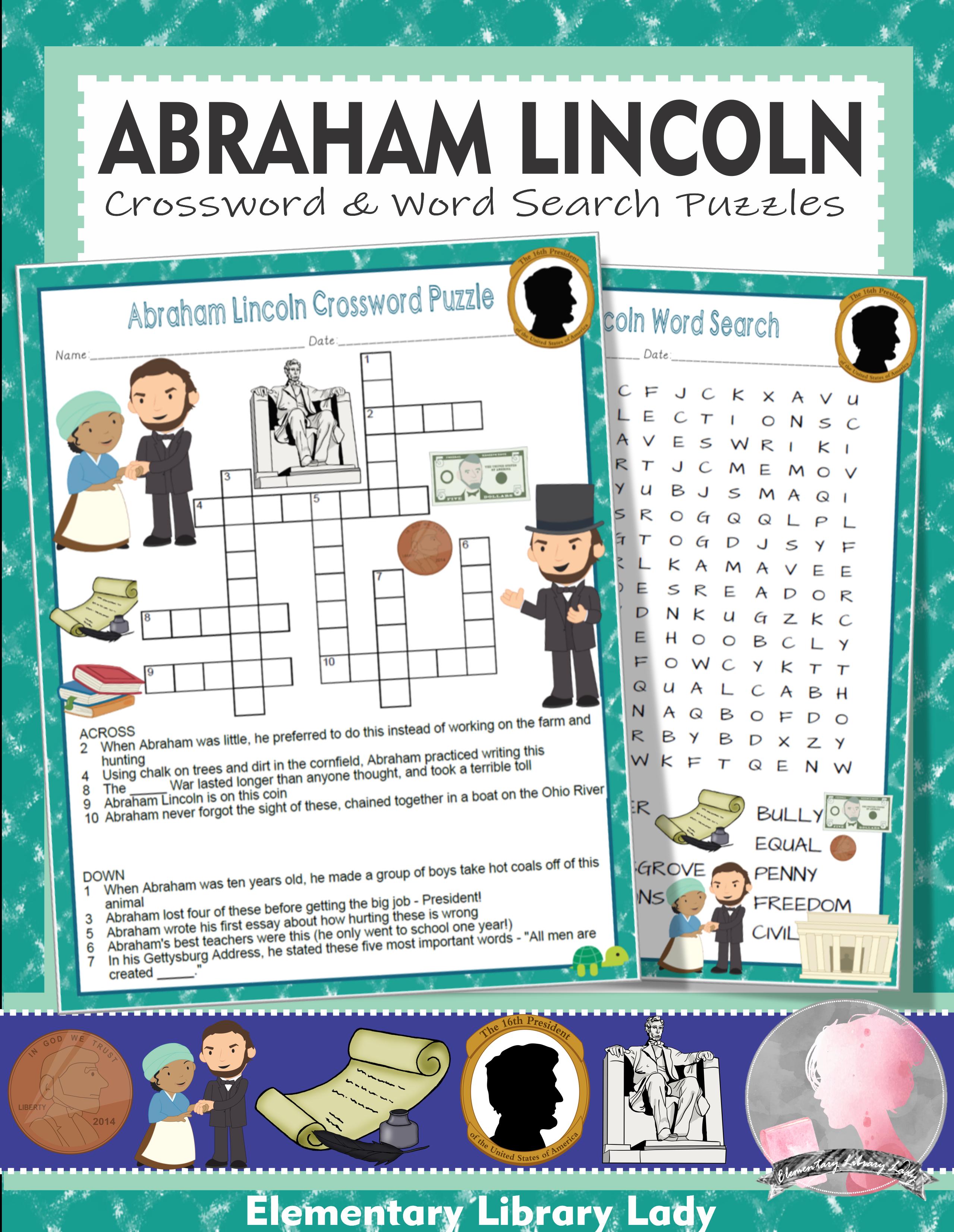 Abraham Lincoln Activities Crossword Puzzle And Word Searches Abraham Lincoln Activities Book Activities Activities [ 3305 x 2559 Pixel ]
