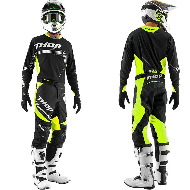 tenue compl te motocross thor mx core bend black yellow fluo 2015. Black Bedroom Furniture Sets. Home Design Ideas