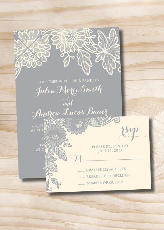 Floral Lace Rustic Vintage Wedding Invitation Response Card Etsy Vintage Wedding Invitations Wedding Response Cards Wedding Invitations