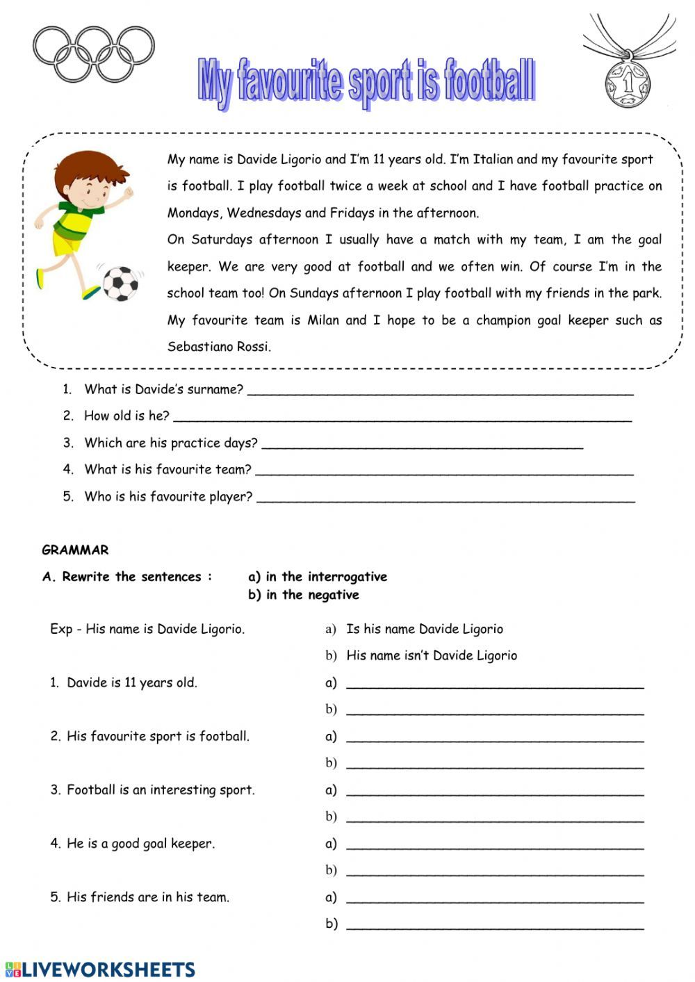 My Favourite Sport Is Football Interactive Worksheet Reading Comprehension Worksheets English Lessons Vocabulary Worksheets [ 1413 x 1000 Pixel ]