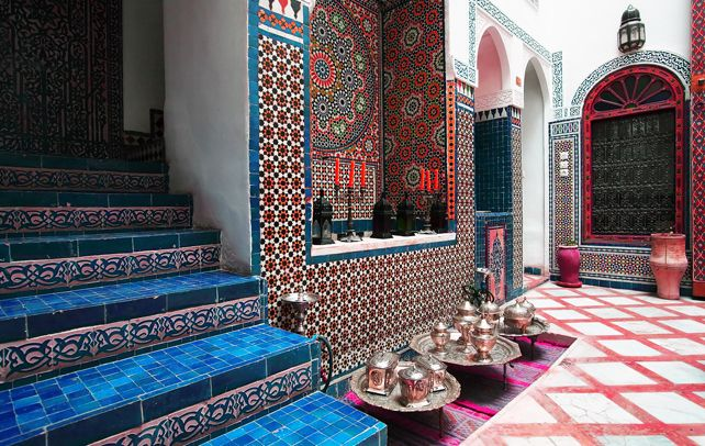 Moroccan Interior Design For Your Living Room Typical Tile Wall Red Candles