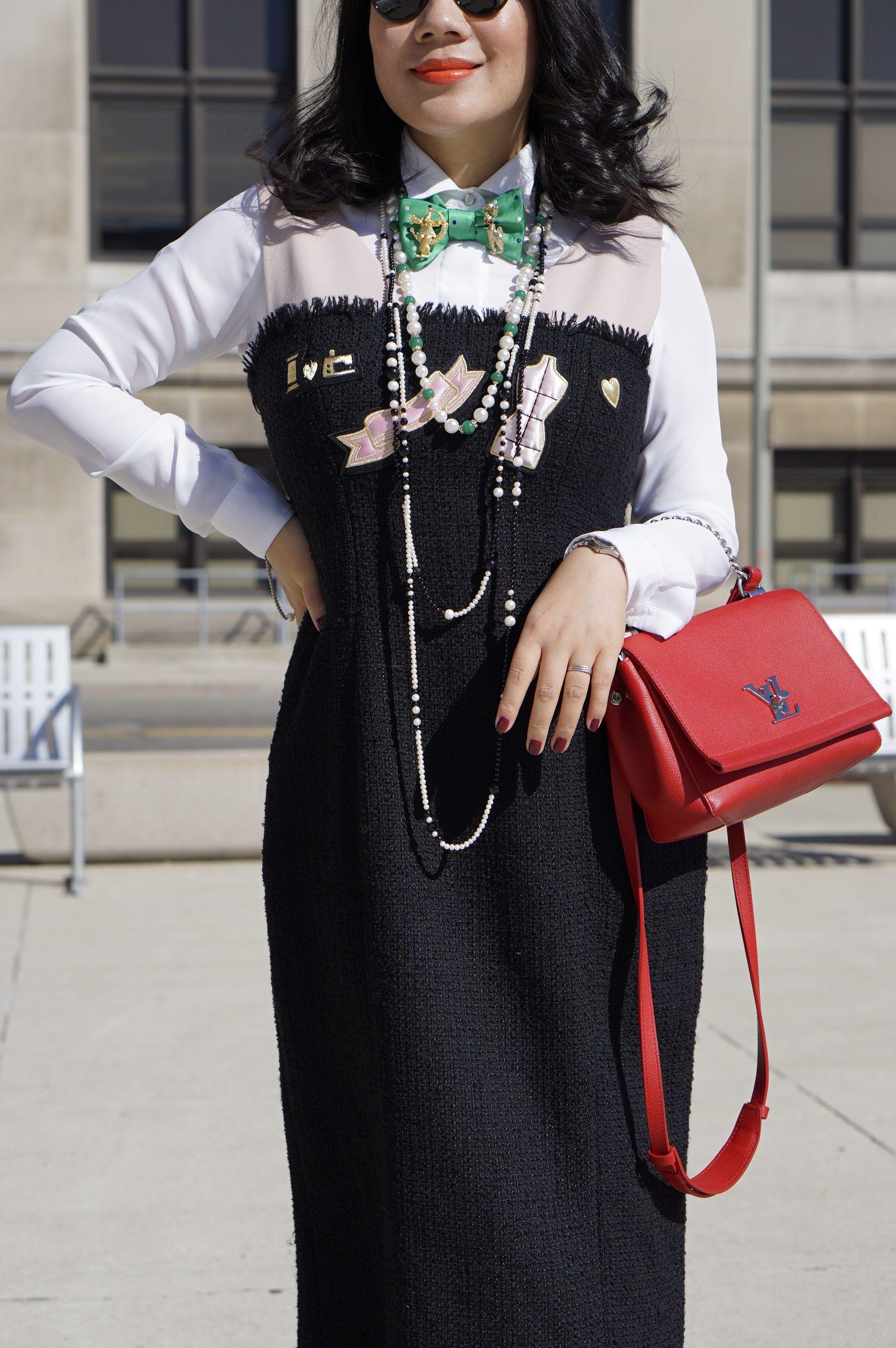 Black dress with red bag - 2016 Petite Spring Fashion Street Style H M White Shirt Moschino Black Dress Aldo Lace