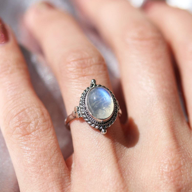 Little Luna Rainbow Moonstone Sterling Silver Boho Ring in