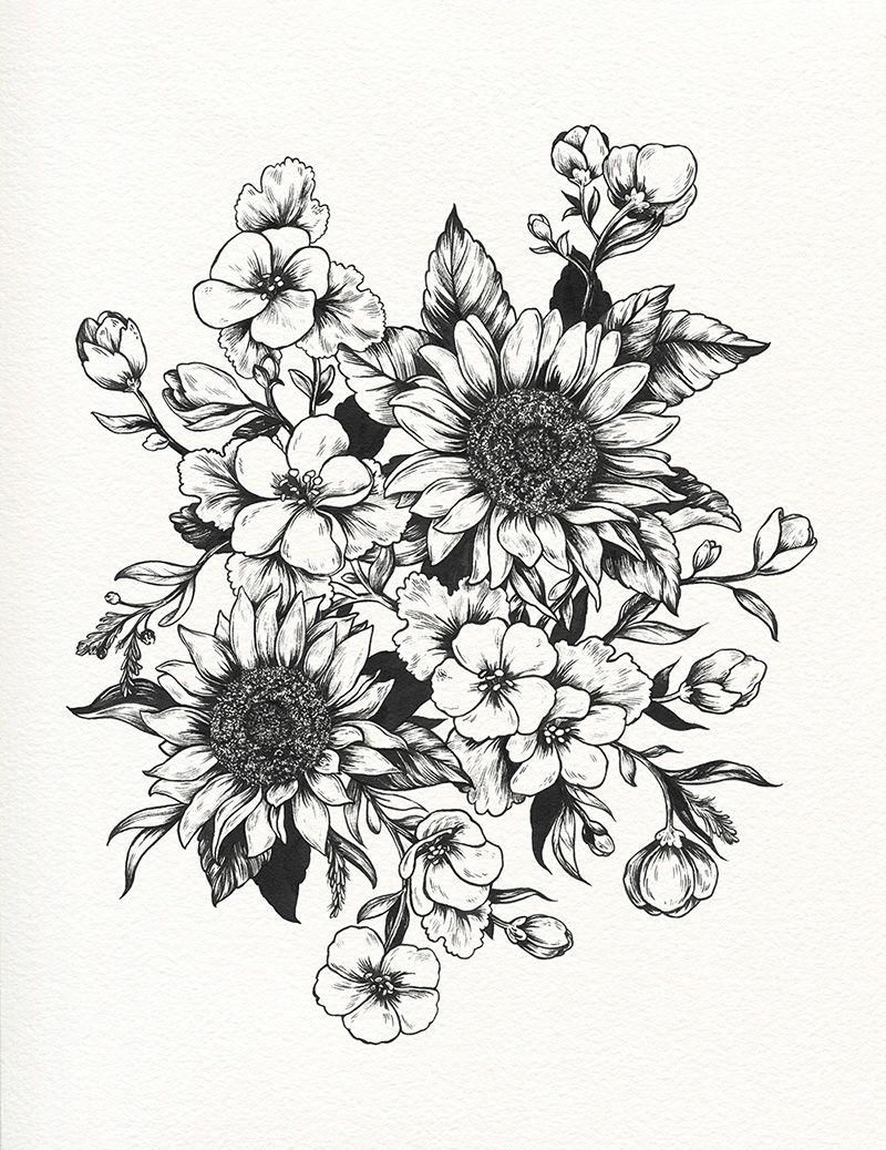 Tumblr Sunflower Drawing Tumblr Sunflowers Progress Tattoo Ideas