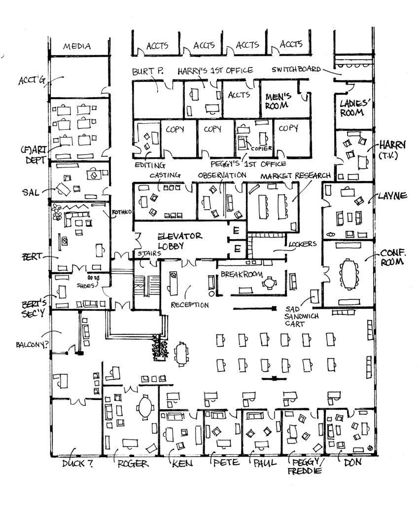 Sterling cooper floor plan we 39 re such mad men pinterest for Sterling plan