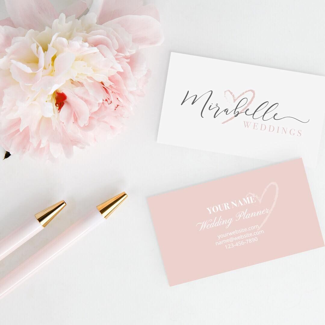 Romantic wedding business branding and business cards for a wedding ...