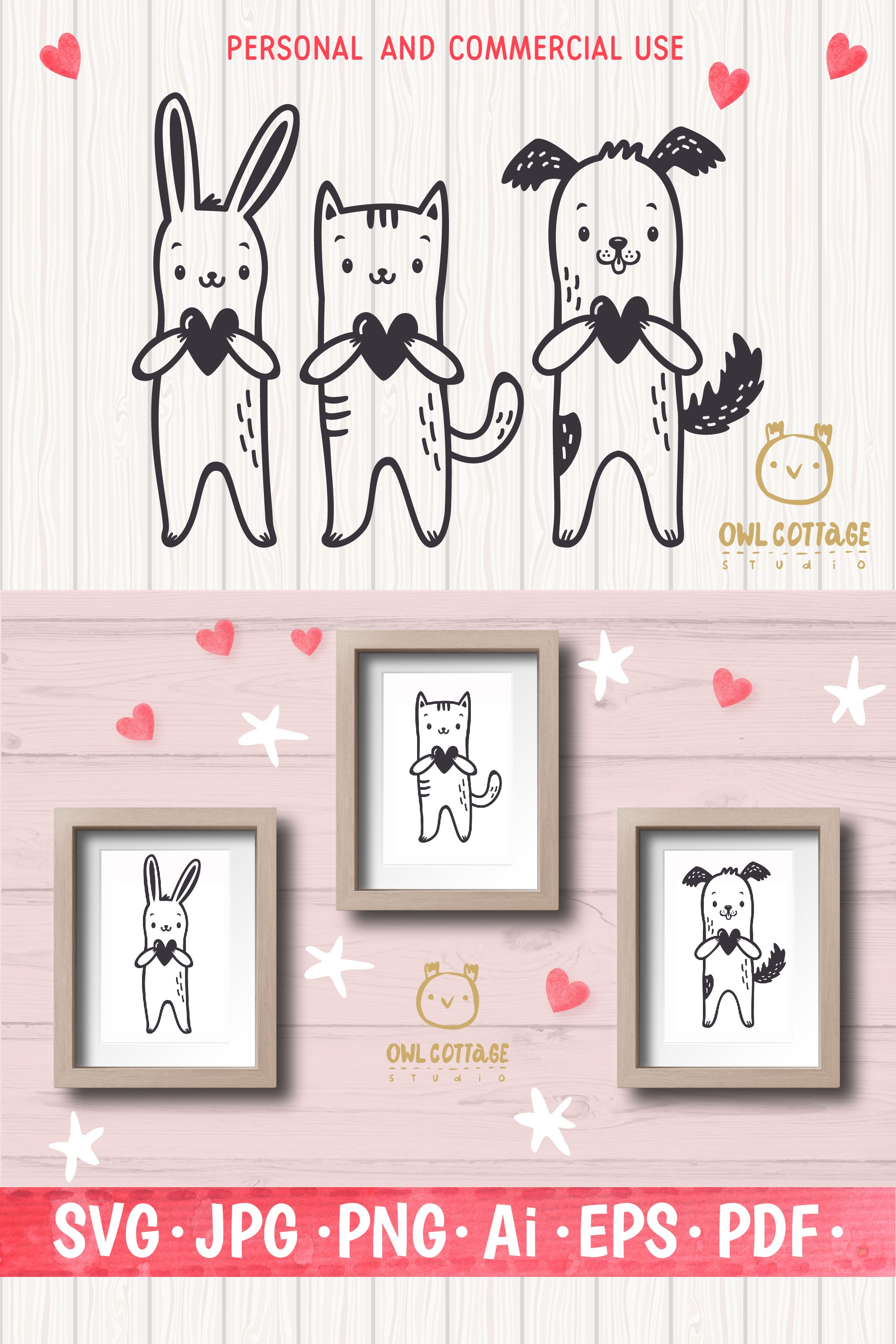 Valentine Pets svg , Puppy, Kitten and Bunny with Hearts