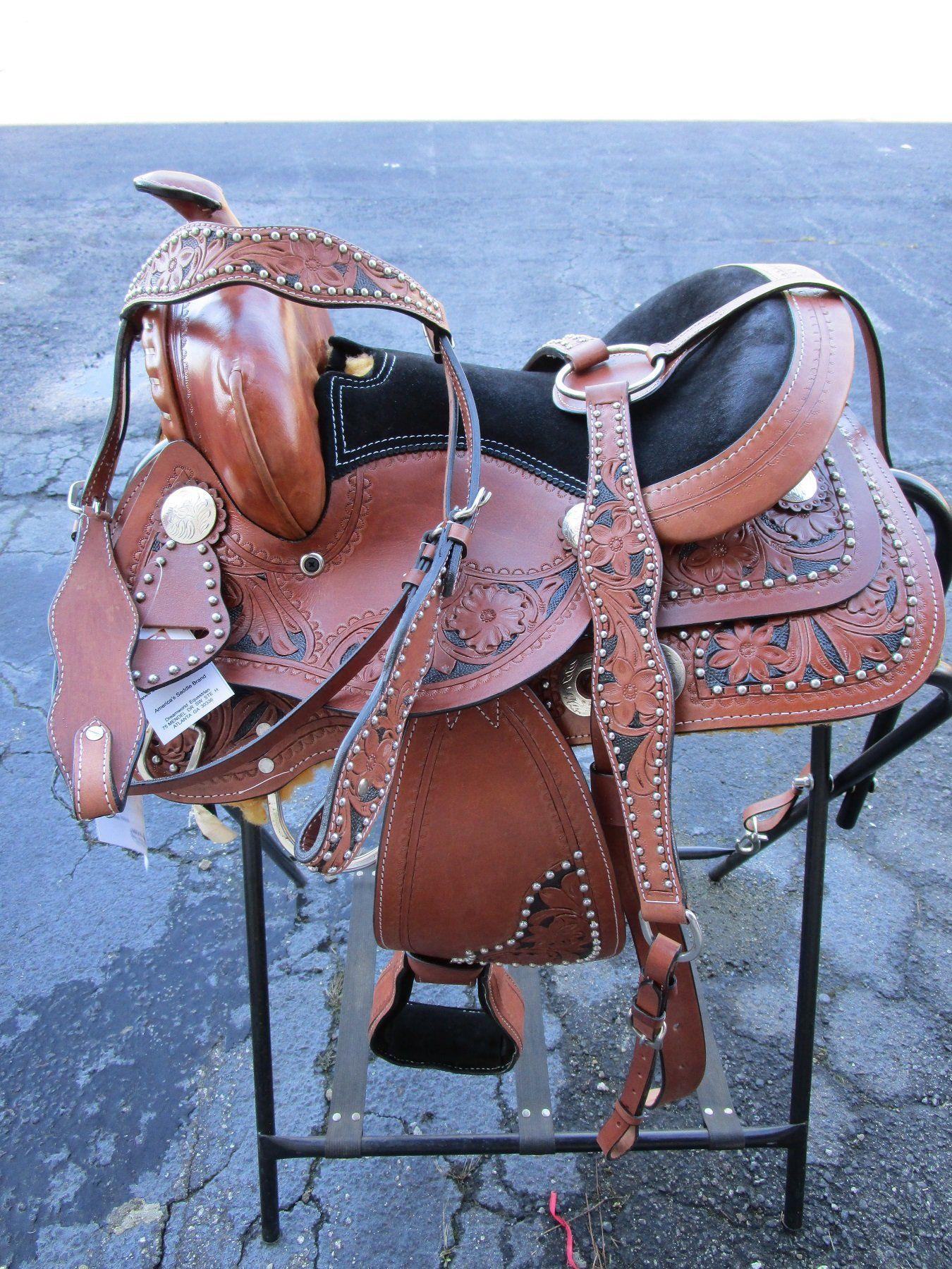 12 13 Pony Saddle Western Horse Tack Black Tooled Trail Pleasure Saddle Western Barrel Pleasure Trail Cow Pony Saddle Western Saddles For Sale Horse Tack