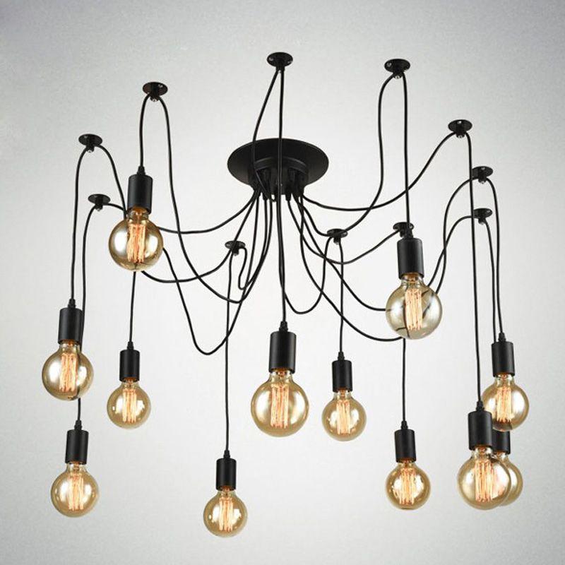 Spider Pendant Lights E27 Vintage Loft Hanging Suspension Industrial