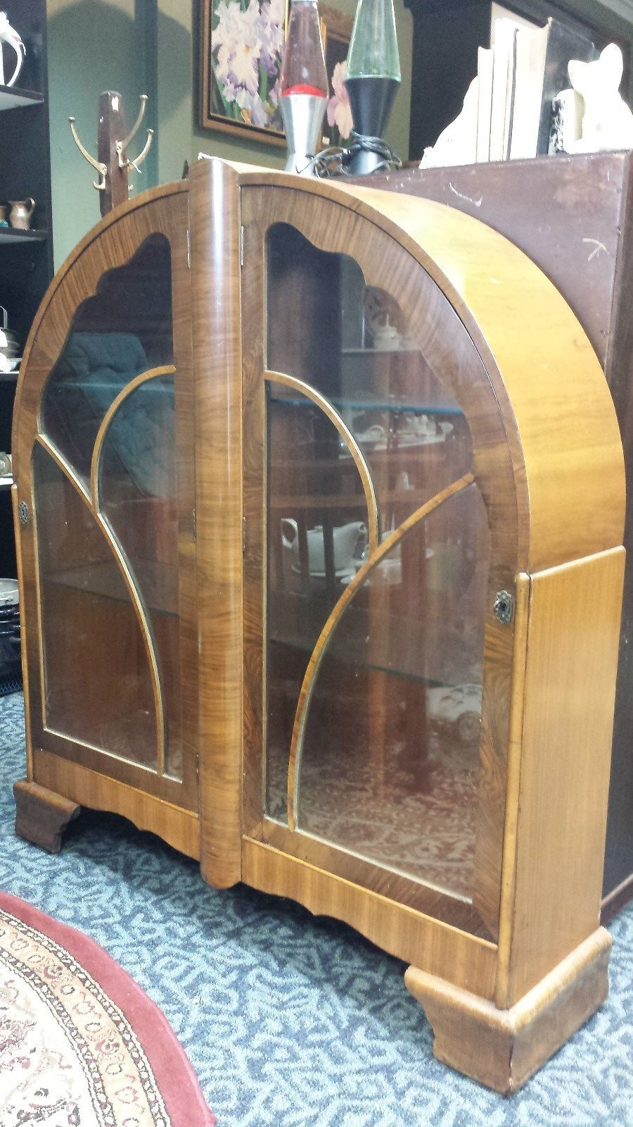 "Antique Vintage Art Deco ""Cathedral "" China Cabinet   eBay"
