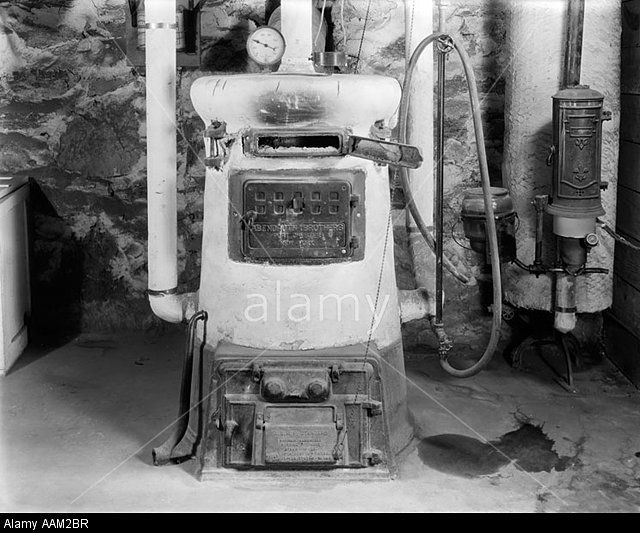 Stock Photo 1920s Old Fashion Coal Burning Home Furnace And Gas Water Heater Home Furnace Old Stove Coal Heater