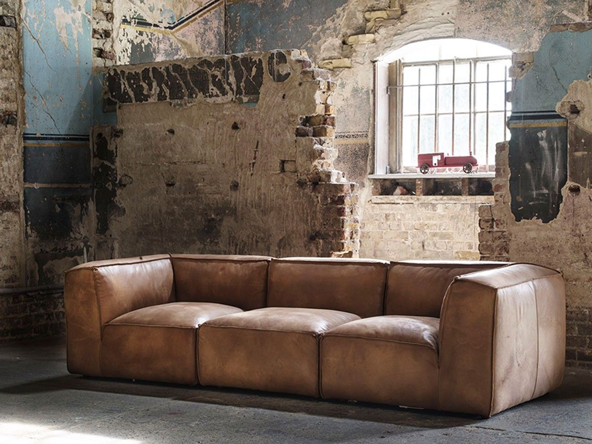 Byron Sectional Sofa in brown leather x1 Armless Sections x2
