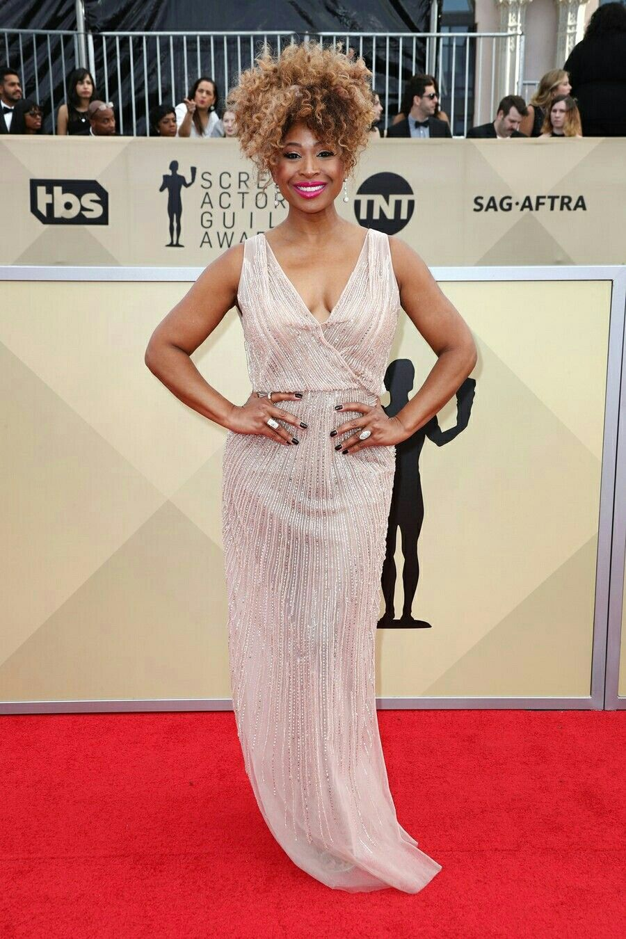 Tanika Ray Mailed It At The Sag Awards In A Sparkling Transparent