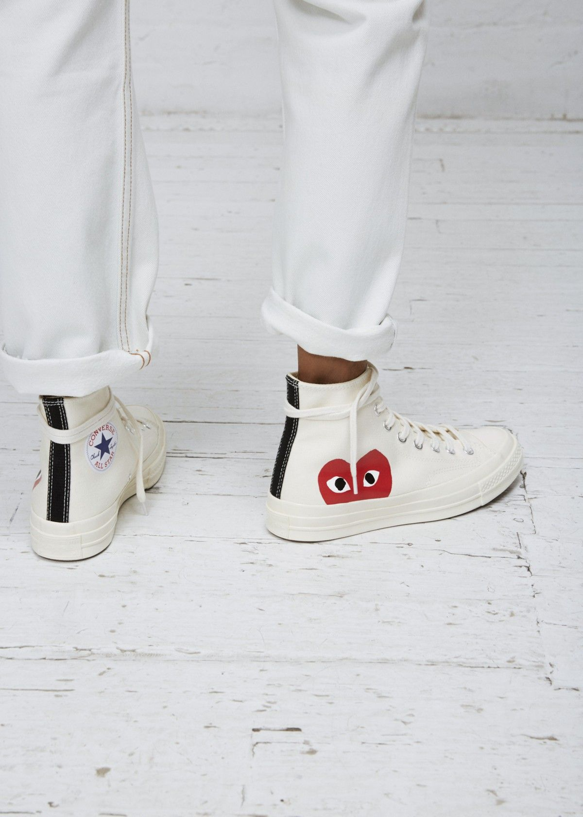 Comme Des Garcons Play High Top Women S Converse Chuck Taylor Outfits With Converse Top Sneakers Outfit White Converse Outfits