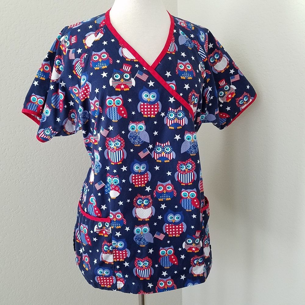 ac4144b885b UA Scrubs Size Large Patriotic Owls Scrub Top | Medical Scrubs ...