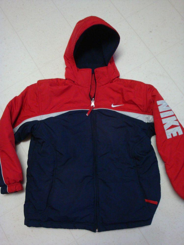 e99b74f79 Boys Nike REVERSIBLE Ski Winter Coat Jacket Red BLUE Large 14 16 ...