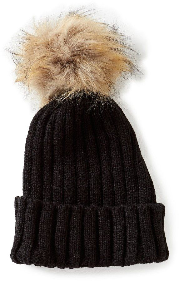 GB Girls Faux-Fur Puff Beanie Hat Beanie Hats c35079e22cf