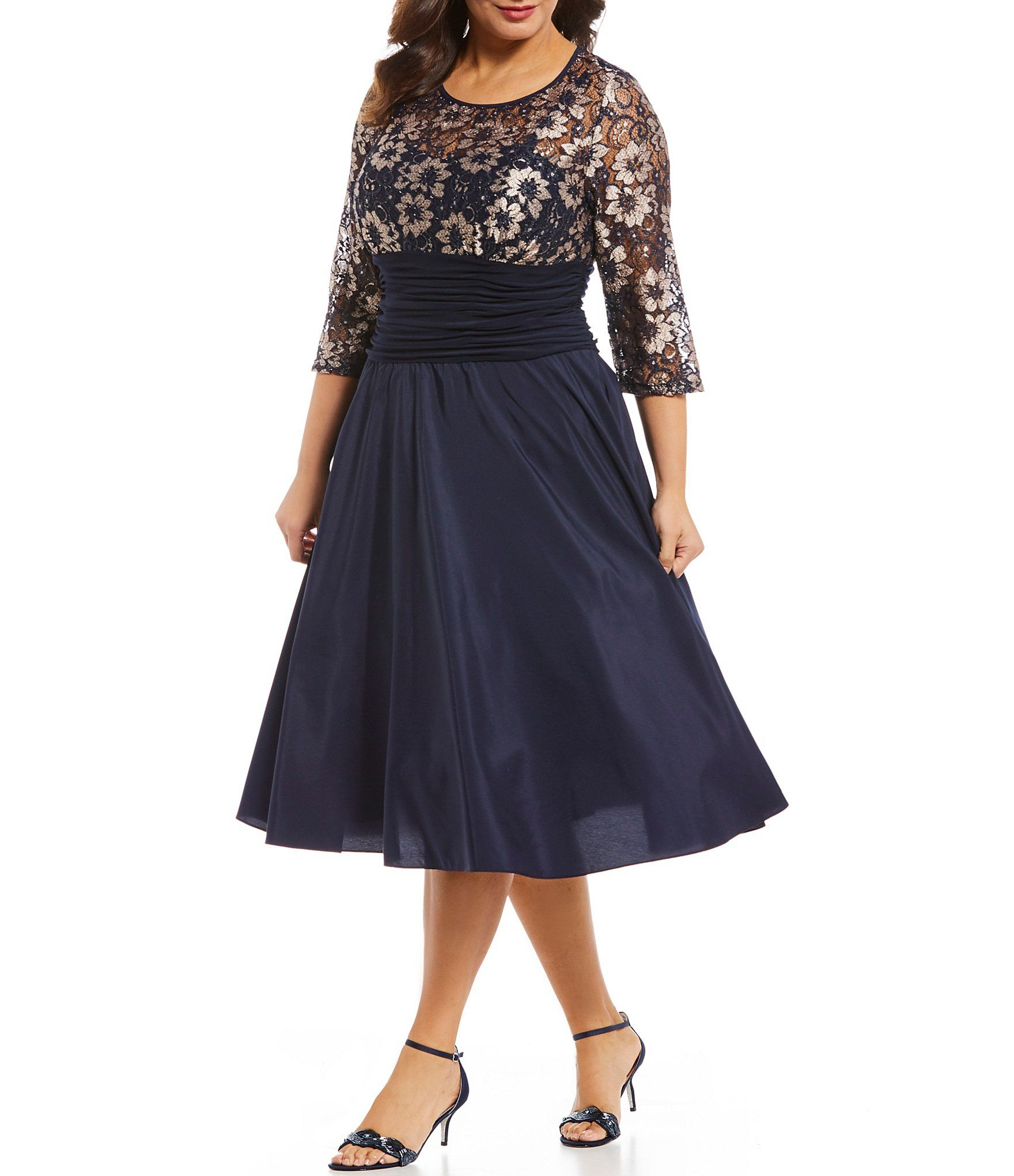 Jessica Howard Plus Size Illusion Sweetheart Neckline Ruched ...