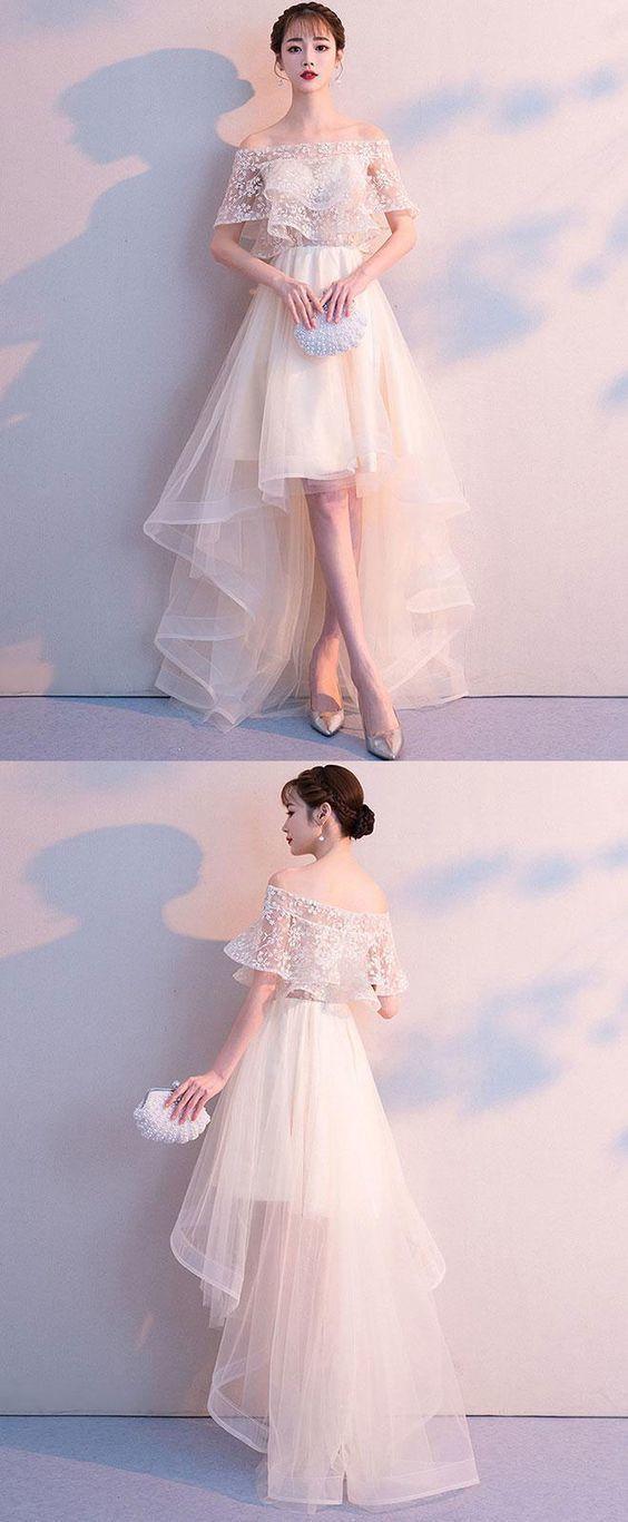 Champagner-Tüll High Low Abendkleid, Tüll Abendkleid, Tüll Brautjungfernkleid #lacebridesmaids