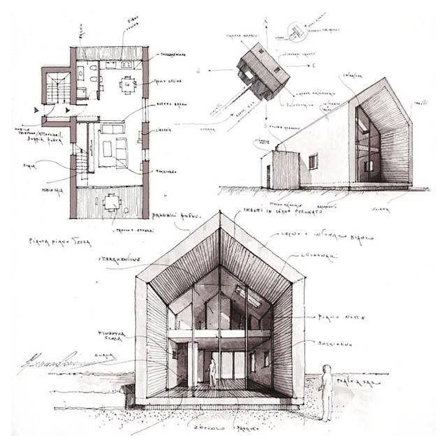 Architektur Zeichnungen Zeitgenossische Ballenstedt Satteldach Holzbau Studium Bewerbung Perspektive Konzept