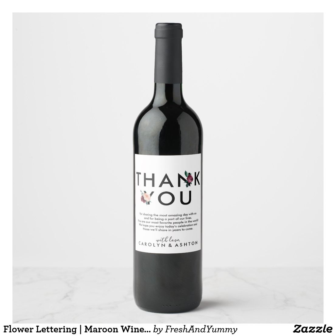 Flower Lettering | Maroon Wine Bottle Labels | Small bouquet, Wine ...