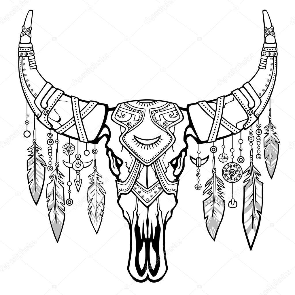 Bir Boğa Fantastik Kafatası Etnik Takı Ve Boncuk Hint Motifleri