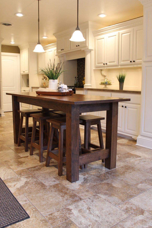 Rustic Farmhouse Bar Island Table With 6 Barstools By Keeriah On Etsy Listing 184755395 Barisland