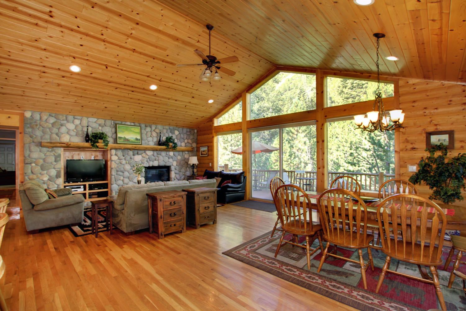 Rustic wood ceiling and walls lake tahoe vacation