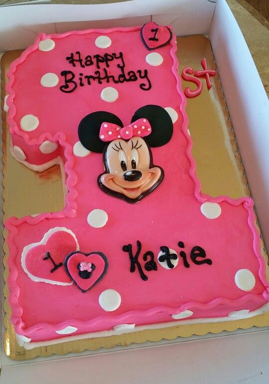 Marvelous Minnie Mouse First Birthday Cake With Images Minnie Mouse Personalised Birthday Cards Veneteletsinfo
