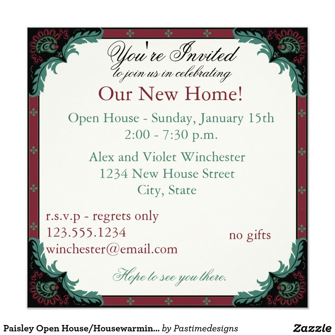 Paisley open househousewarming party card housewarming party paisley open househousewarming party 525x525 square paper invitation card stopboris Choice Image