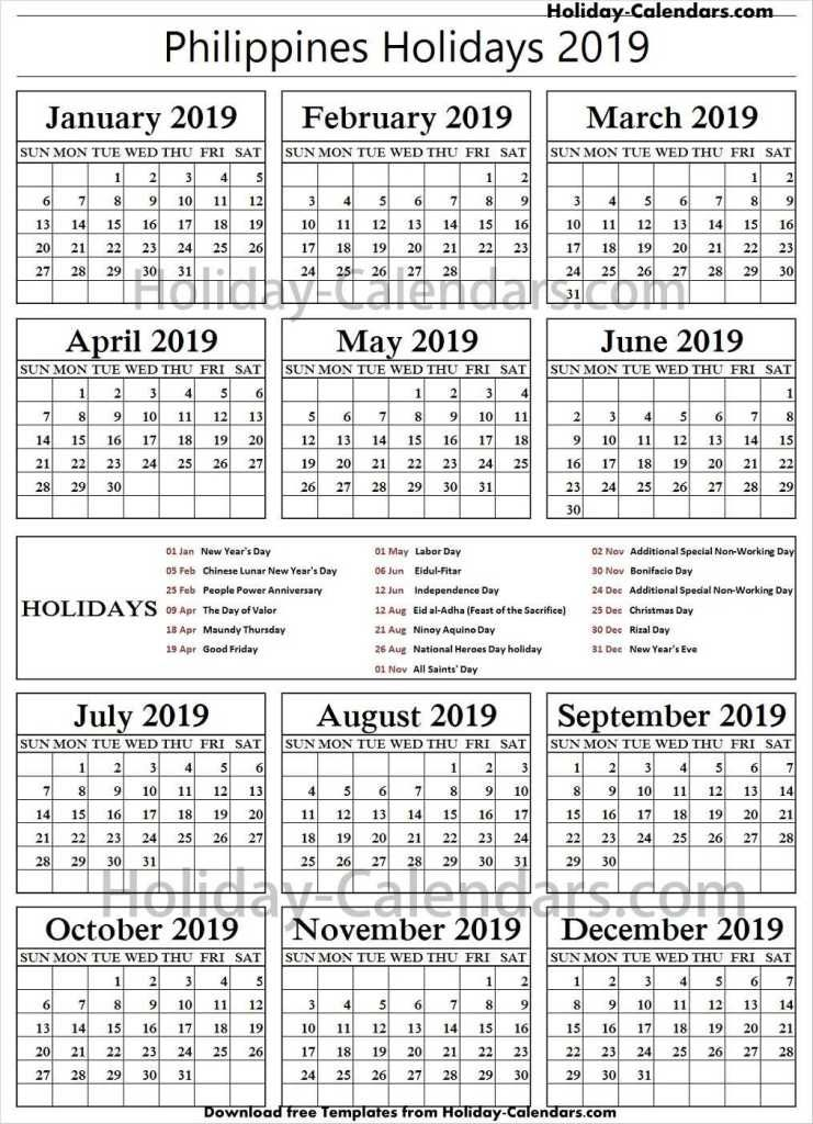 Philippines National Holidays 2019 Excel Philippine Holidays