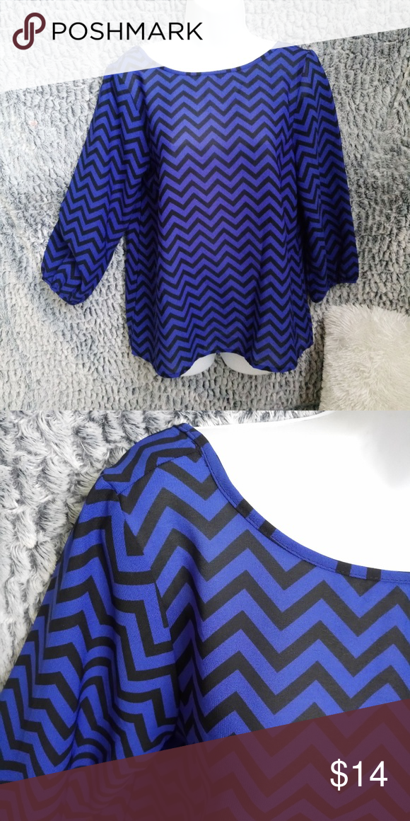 dbd81274ef74e0 SALELive 4 Truth Blue and Black Zigzag Blouse M Lovely Womens Live 4 Truth  Blue