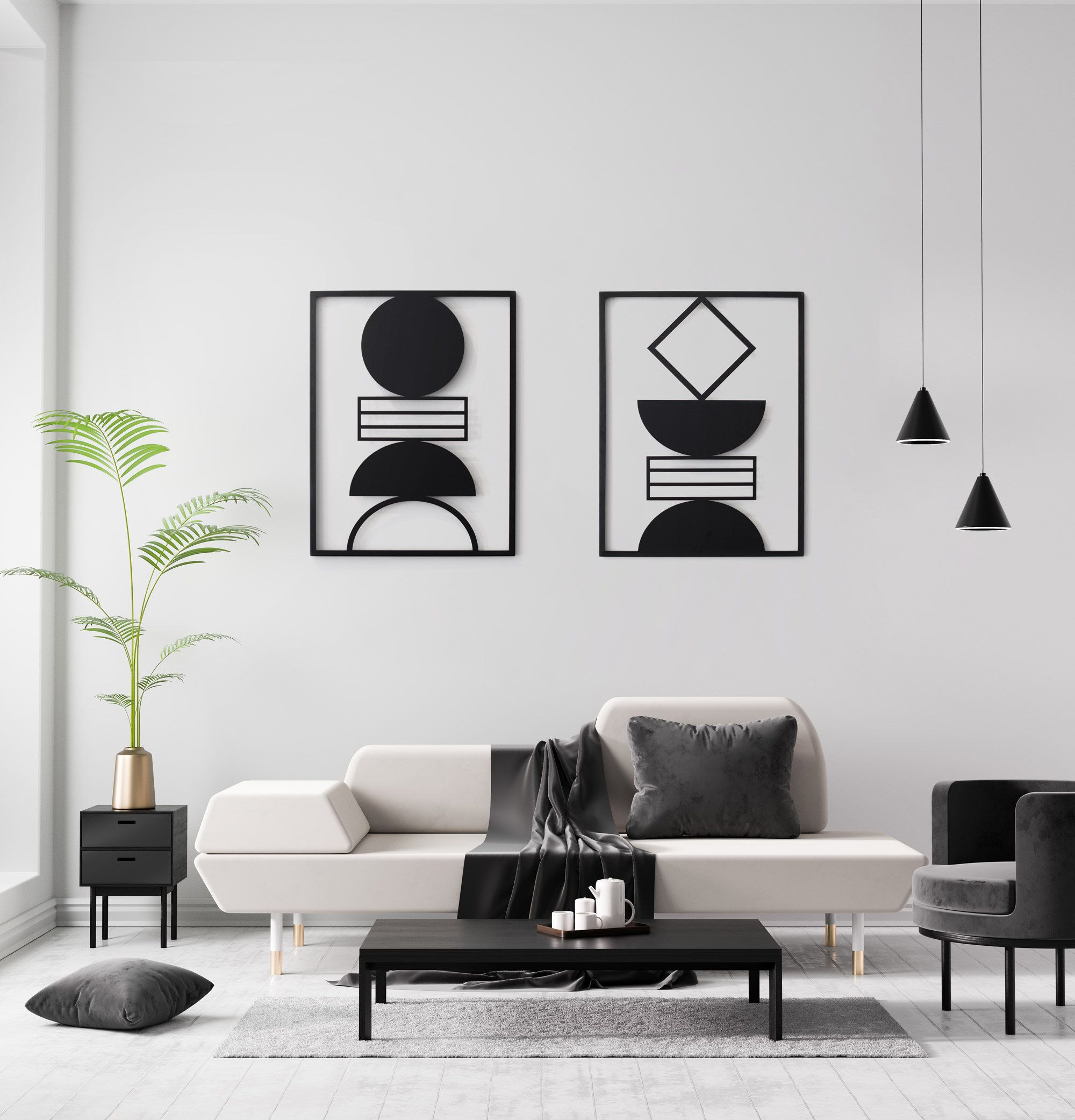 Wall Art Set Of 2 Framed Metal Art Interior Decor Metal Wall Decor Modern Geometric Room Decor Black Metal Art Bedroom Wall Decor 2020 Resimler