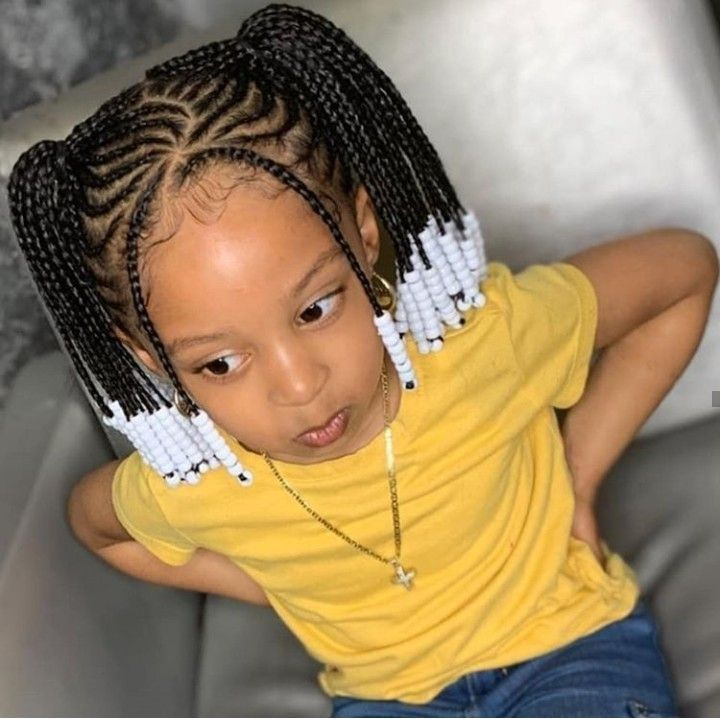 41 Charming Kids Braided Hairstyle Ideas With Beads #blackbraidedhairstyles