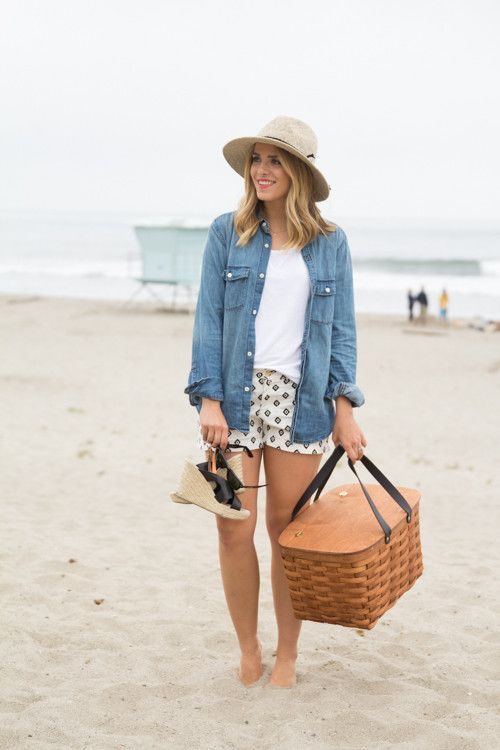 Gal Meets Glam - 2013 July 30 - Beach Day - Aritzia Chambray Top (similar here), Old Navy Sweater, Old Navy Shorts, Free People Hat c/o, Gap Wedges, A Sunny Afternoon Picnic Basket (Also wearing my husband's jacket in the last pic)