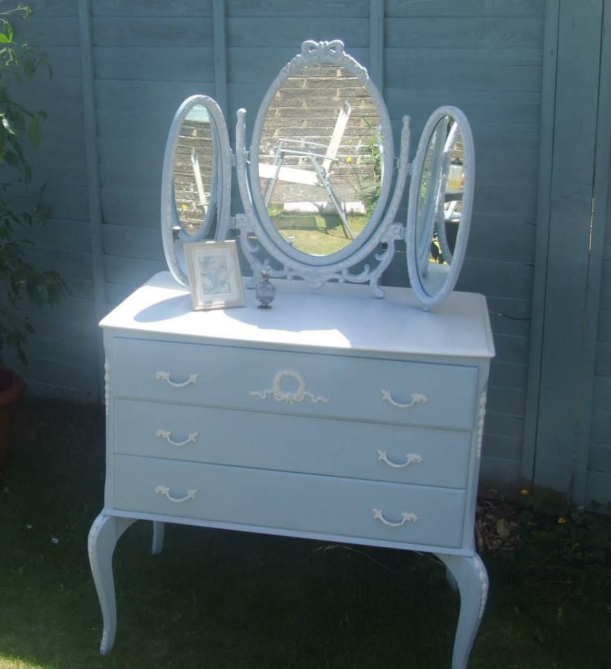 Charming Shabby Chic, Baby Blue Painted Dressing Table And Mirror.