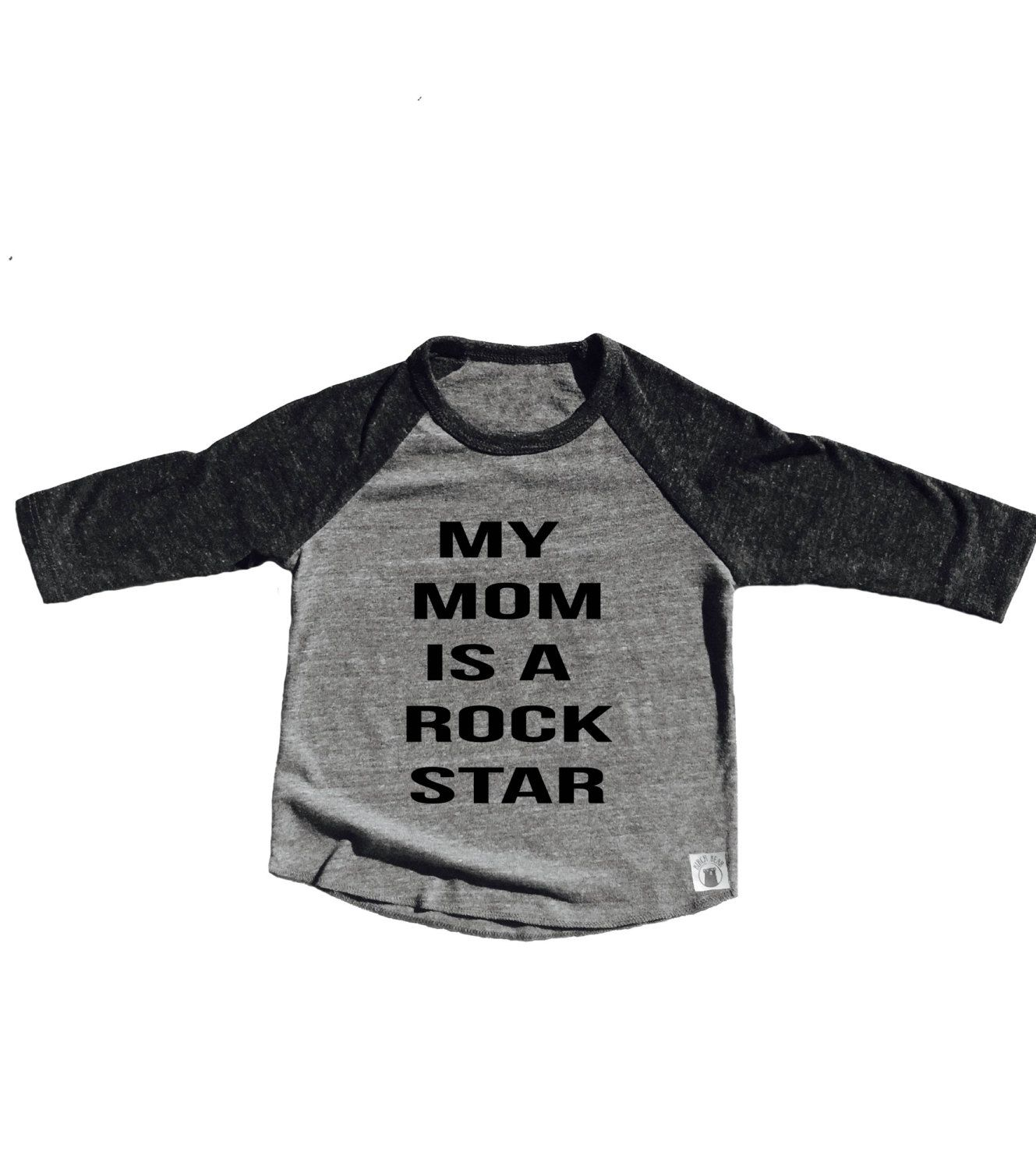 Toddler Baseball Tee Triblend Please My Mom Is A Rock Star by BirchBearCo on Etsy