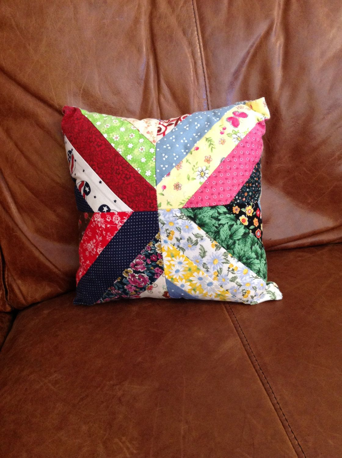 Small Vintage Decorative Cotton Quilted Pillow by LakesideVintageShop on Etsy