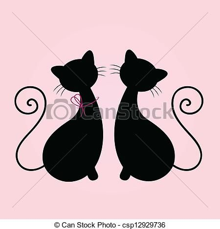 Cute Cats Couple Sitting Together Silhouette Isolated On Pink
