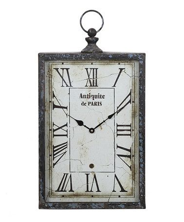 Take A Look At This Vintage Rectangular Vertical Wall Clock By Privilege On Zulily Today Paris Wall Clock Wall Clock Grey Wall Clocks