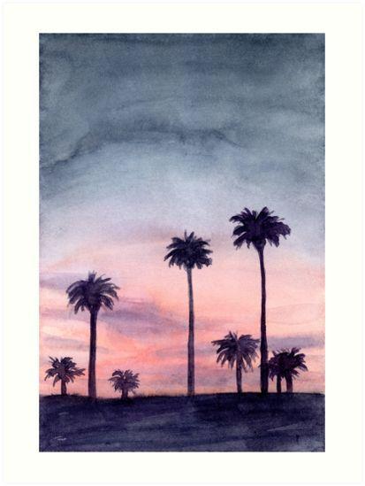 'Palm City - Watercolour Painting' Art Print by Patricia Tokarz